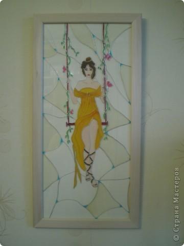 """Витраж Девушка"""", размер 25/50см, фото со вспышкой фото 2"""