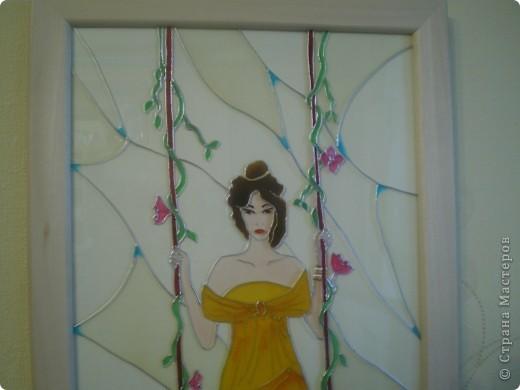 """Витраж Девушка"""", размер 25/50см, фото со вспышкой фото 3"""