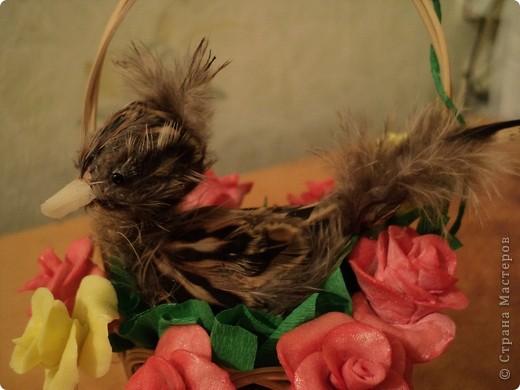 Саму птичку я смастерила давно. Это вырезанная пробка из-под шампанского обклееная перышками от перепелов. Цветы-первая работа с холодным фарфором. фото 3