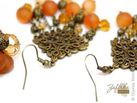 Кольцо и длинные серьги в винтажном стиле - с натуральными агатами и стеклянными бусинами. фото 2