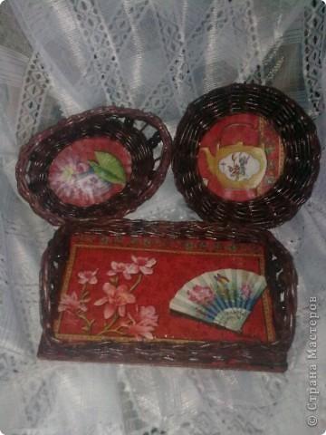 Комплект: поднос, хлебница, коробочка фото 1