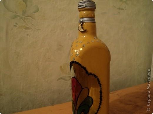 Вот несколько моих бутылок. Здесь витражные краски-прилипалы. фото 5