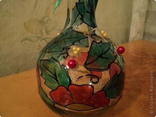Вот несколько моих бутылок. Здесь витражные краски-прилипалы. фото 7