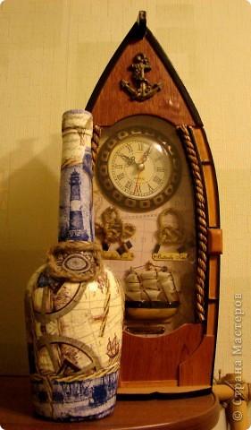 давно хотела сделать что-нибудь в морском стиле! и вот в итоге такая бутылочка у меня получилась!!! фото 2