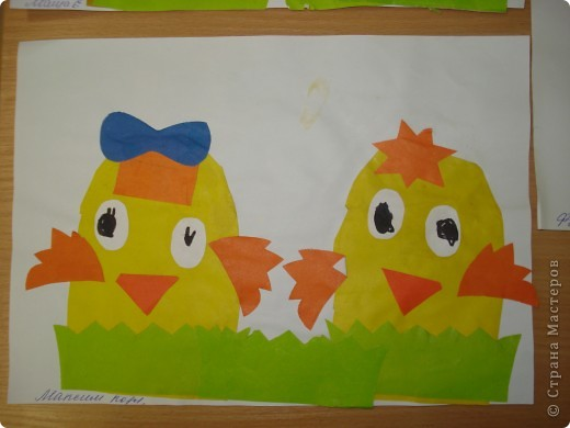 Мы в своей работе решили сделать сразу двух цыплят.Идейку подсмотрели у Светланы Белых, за что ей огромное спасибо. фото 1