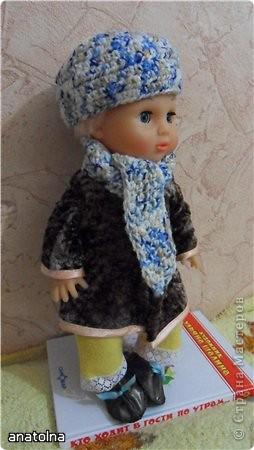 зимняя шубка, вязаные шапочка и шарф, пошитая обувь фото 1