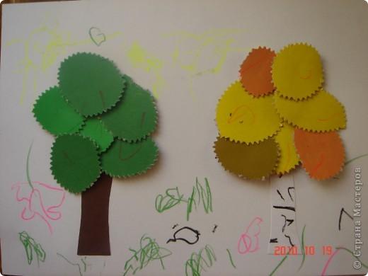 Спасибо большое за идею http://stranamasterov.ru/user/23582. Сашуля (2,4 года) каждому деревцу нарисовал солнышко (не очень четко видно, они желтого цвета), кроме того травку и цветочки (конечно они немножко не определенной формы)  фото 1