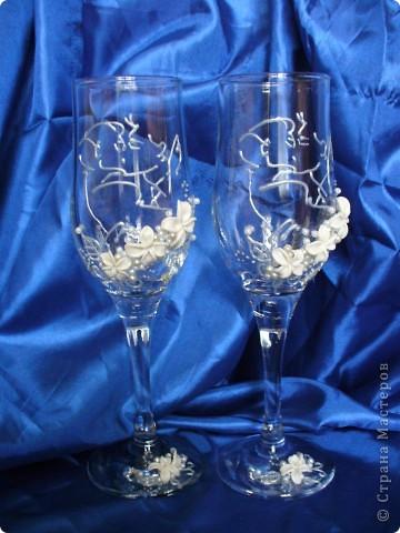 Вот и я сделала свои бокалы с целующейся парой)))) фото 1