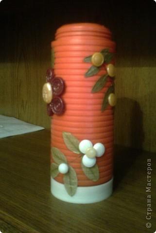 Вот такая скромная вазочка получилась из старого термоса. фото 1
