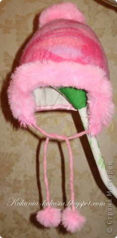 Зимняя шапочка для дочи, выполненная в технике мокрого валяния фото 1