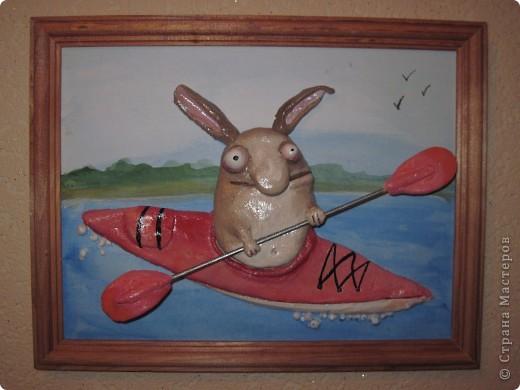 Заяц-каякер. Подарок для мужа. Он у меня турист-водник фото 1