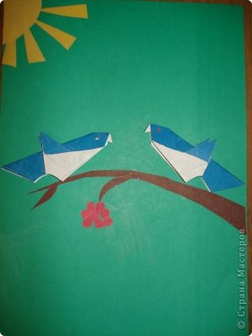 Оригами. Птицы на ветке. фото 1