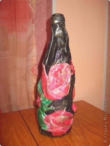 декор бутылки тканью