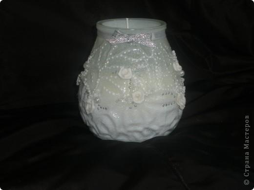 Принесли мне вот такую свечу,сказали,что это будет домашний очаг...долго я думала как украсить....бочонок бочонком...ну и вот так получилось фото 1