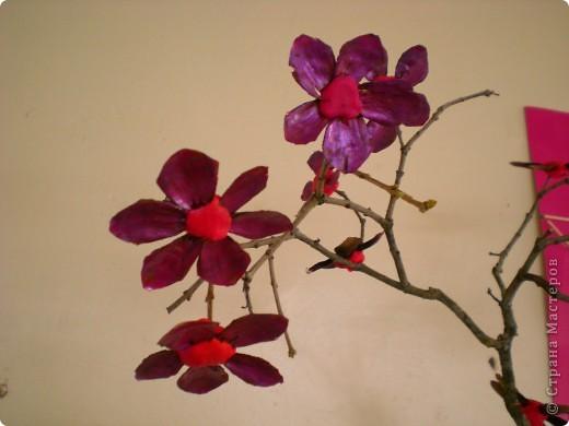 Цветущая вишня из чешуек шишек.