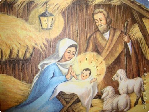 """Тарелка """"Рождество Христово"""".Прямой декупаж поталь золотая краска салфетка золотая краска с блесками акрил клей и лак.Никак не могла хорошо сделать фото-поталь блестит. фото 2"""