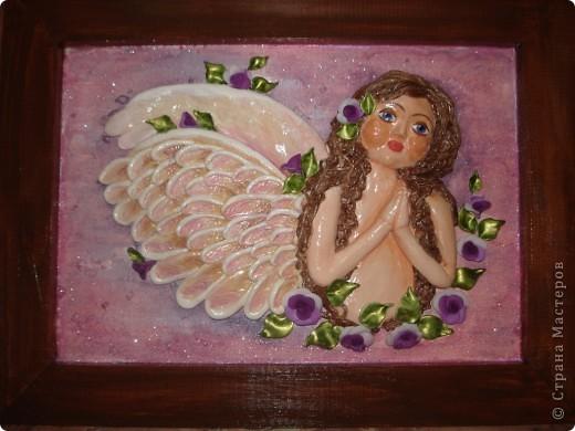 Вот такой ангелочек получился по МК Ларисы Ивановой. Росписью самого ангела довольна, а вот с фоном я что-то намудрила... фото 1