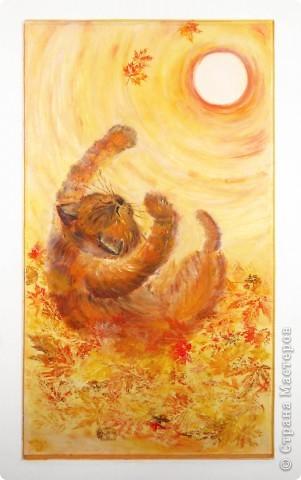"""""""Лист в прожилках желто-алых,  Пересыпан желтизной.  Рыжий вал волной вздувало  Над осеннею землей....""""  Динабургский  ...Рыжий кот,играя в опавшей листве, ловит солнце, приняв его за лист. Рисовалось маслом на двери любимого человека (сейчас любимого мужа :)) фото 1"""