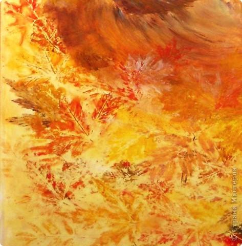 """""""Лист в прожилках желто-алых,  Пересыпан желтизной.  Рыжий вал волной вздувало  Над осеннею землей....""""  Динабургский  ...Рыжий кот,играя в опавшей листве, ловит солнце, приняв его за лист. Рисовалось маслом на двери любимого человека (сейчас любимого мужа :)) фото 3"""