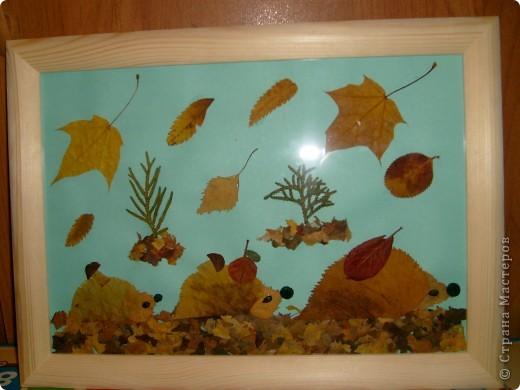 Сынуле в детский садик сделала вот такую картину из засушенных листьев.  фото 1
