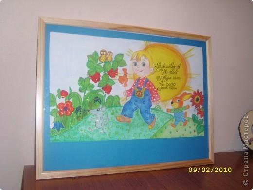 Подарок был сделан по случаю рождения маленького мальчика Матвея...рисовала гуашью и акриловыми красками,немного блесток... фото 2
