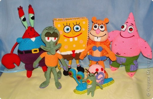 Вязание крючком - Спанч Боб и его друзья.