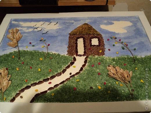 """В детском саду дали задание сделать панно из природного материала на тему """"Пришла осень"""". Вот что получилось. фото 2"""