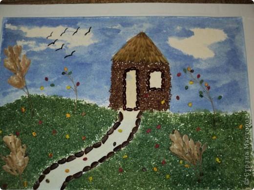 """В детском саду дали задание сделать панно из природного материала на тему """"Пришла осень"""". Вот что получилось. фото 1"""