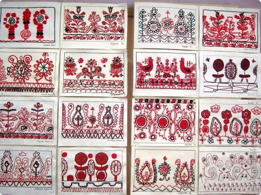 По программе Б.М.Неменского в 7 классе (а кто-то дает в пятом) есть задание: импровизация на тему древних образов в узорах вышивок на полотенце. Это задание мы не рисуем, а выклеиваем нитками по рисунку. Вот что получилось: фото 2