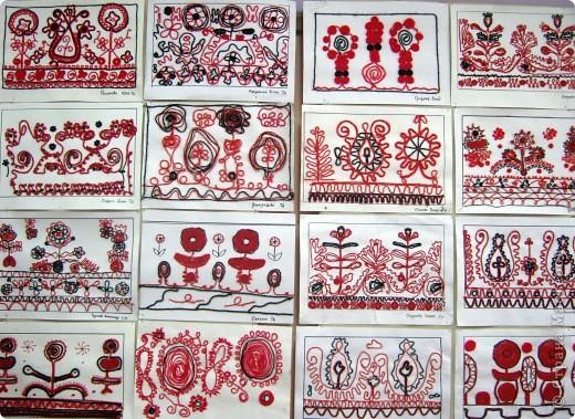 По программе Б.М.Неменского в 7 классе (а кто-то дает в пятом) есть задание: импровизация на тему древних образов в узорах вышивок на полотенце. Это задание мы не рисуем, а выклеиваем нитками по рисунку. Вот что получилось: фото 15