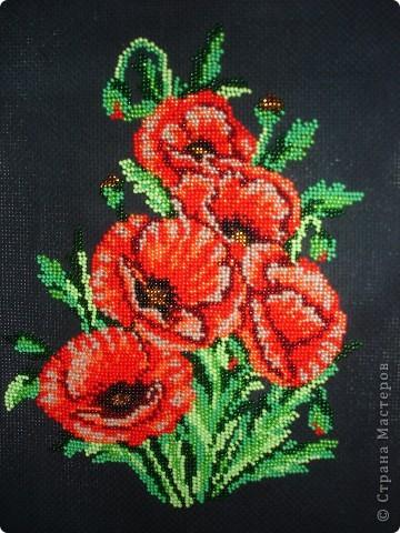 Картина панно рисунок Вышивка Маки из бисера Бисер фото 2.
