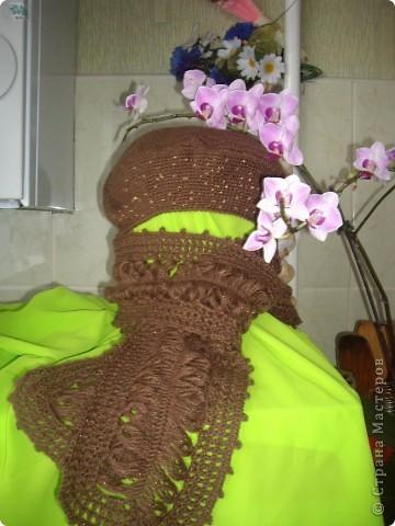 Берет и шарф с ажурной серединкой