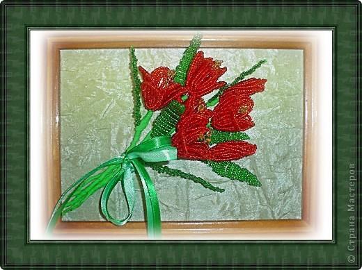 """""""Красные тюльпаны"""",бисероплетение"""