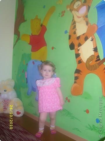 Перед рождением доченьки-Софьи встал вопрос по оформлению детской. Очень хотелось необычно,нежно,весело...потому пришло решение расписать одну из стен в детской мультяшными добрыми персонажами...вот,что  в итоге получилось... фото 6