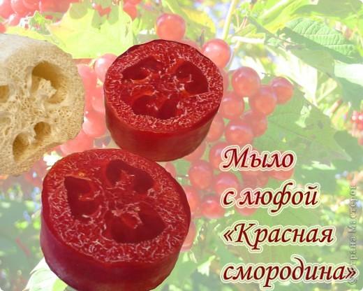 Мыло с люфой и косметическим золотистым пигментом, аромат красной смородины. фото 1