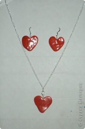 сердечки=серьги+кулон фото 1
