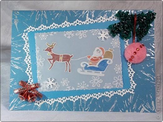 Дед Мороз выполнен в технике теснение и раскрашен акварельными карандашами.  фото 1