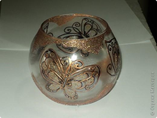 """Вот так я расписала баночку для чая """"Каркадэ"""", который любит мой старший сын. Расписана акриловыми красками, завитки из простых швейных ниток. фото 3"""