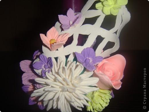 Подсвечник, украшенный цветочками. фото 4