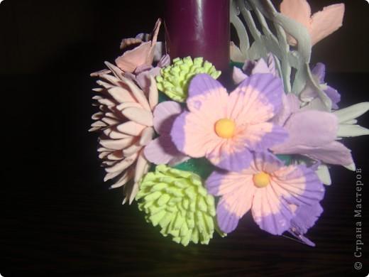 Подсвечник, украшенный цветочками. фото 5