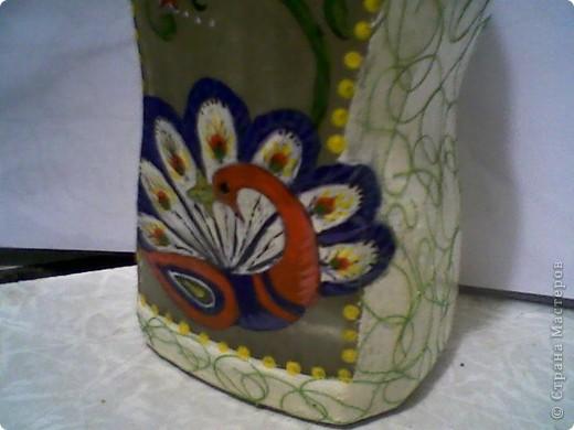 """Вот так я расписала баночку для чая """"Каркадэ"""", который любит мой старший сын. Расписана акриловыми красками, завитки из простых швейных ниток. фото 2"""