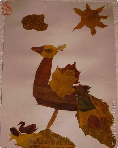 Птичка из листьев, аппликация
