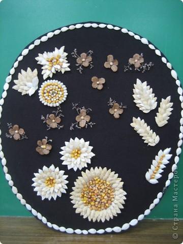 Панно из семян. Крупные элементы наклеены на картонные кружочки с помощью клея ПВА. фото 1