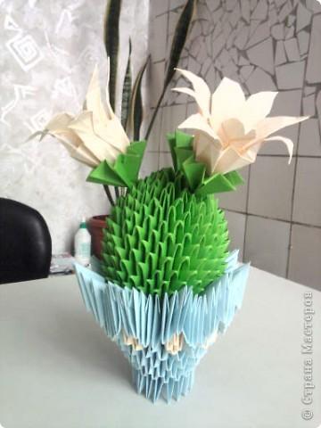 Сделала кактус, только цветочки у меня не получились, как на образце, сделала другие. фото 1