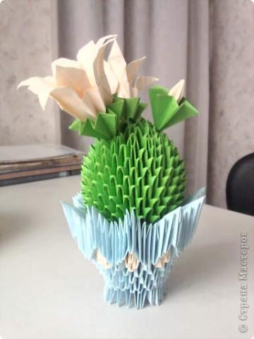 Сделала кактус, только цветочки у меня не получились, как на образце, сделала другие. фото 2