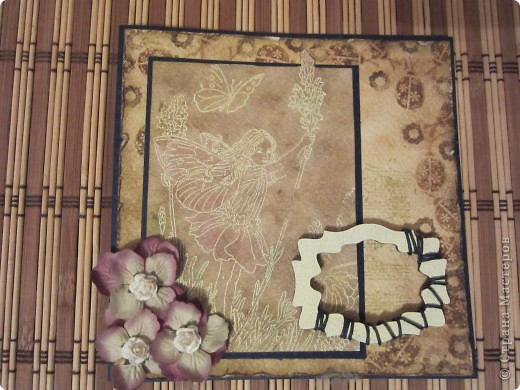 Открытка с печатным рисунком и эмбоссингом фото 1