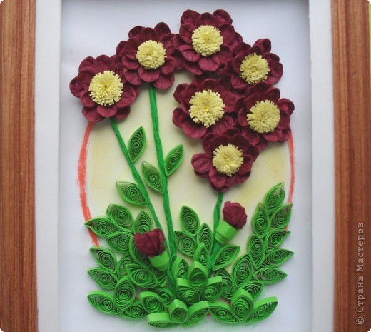 Салфеточные бордовые цветы фото 1