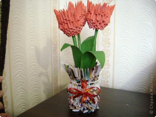 Поделка из оригами ваза