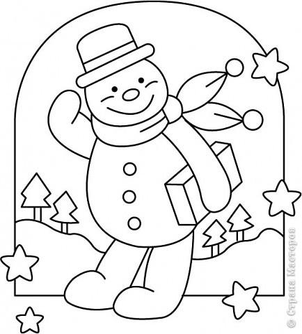 Новогодние трафареты снеговиков фото 1