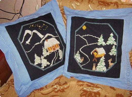 Вышивка - Тплые подушечки к Рождеству Схема.